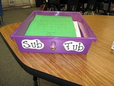 Sub Tub ~ Very organized substitute plans-this teacher has thought of everything! Organization And Management, Teacher Organization, Teacher Tools, Classroom Management, Teacher Resources, Teaching Ideas, Teacher Stuff, Organized Teacher, Organizing School