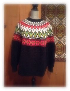Fair Isle Norwegian wool sweater by WILLIAM SCHMIDT by VikingRaids Ski Sweater, Wool Cardigan, Wool Sweaters, Solid Black Background, Norwegian Knitting, Fair Isle Knitting, Sweater Making, Scandinavian Style, Lana