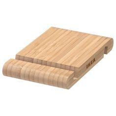 IKEA - BERGENES, Holder for mobile phone/tablet, bamboo, Suitable for mobile phones/tablets up to Desk Paper Organizer, Paper Organization, Ikea Canada, T Mobile Phones, Support Telephone, Bamboo Design, Glass Cabinet Doors, Glass Door, Packaging