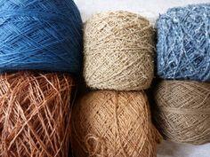 indigo ramie, the paper moire, recycled blue jeans handspun fibre plied with cotton, kaki shifu, handspun cotton plied with reeled silk, 2-ply handspun hemp dyed with walnut husks