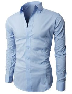 H2H Men's Wrinkle Free Slim Fit Dress Shirts