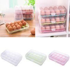 Newest Single Layer Refrigerator Storage Food Boxs 15 Eggs Airtight Storage container plastic Box D529 #Affiliate