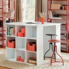 the perfect craft table: Project Table with Bookcase