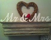 10cm Handpainted Freestanding Wedding Letters - Mr & Mrs - New Script
