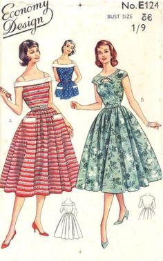 "Full-Skirt Prom Dance Dress B36"" ~ Unused 1950s Vintage Sewing Pattern E124   eBay"