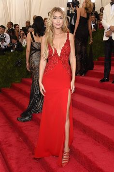 Pin for Later: Relive All the Glamour From Last Year's Met Gala Red Carpet Gigi Hadid The model hit her first Met Gala in a fiery red gown.