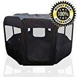 """ToysOpoly Pet Playpen 45"""" Exercise Puppy Pen Kennel - Best for Dogs and Cats Safe in Their Play-pen While Protecting The Little Kids - Folding Design Easy Storage (Black) #dogplaypen"""
