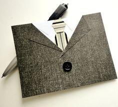 MENS SUIT and TIE Fathers Day Card Gray Black White, Happy Birthday Card For Him, Button, Black Tie, Masculine, Sleek, Mad Men. via Etsy.