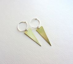 Image result for hoop earrings with small metal triangle