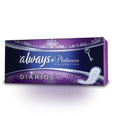 Always Platinum Diário Normal Plus O protetor diário Normal Plus é um produto fino com um centro superabsorvente.
