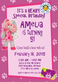 Having a Build-A-Bear Party? Make it extra special with this personalized invitation!    This is a special CUSTOMIZABLE digital invitation, made
