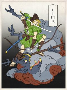 Illustrator Jed Henry is creating a series of Nintendo characters based on the style of traditional Japanese ukiyo-e woodcut prints. The images above depict Link from The Legend of Zelda and a sketch for an upcoming Mario Kart print. The Legend Of Zelda, Nintendo Characters, Video Game Characters, Nintendo Games, Nintendo 64, Zelda Video Games, 8bit Art, Art Asiatique, Classic Video Games