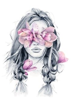 Wild magnolia blindfolded girl from my wall art print collection. Great for framing and room decor. Girly Drawings, Art Drawings Sketches, Kreative Portraits, Art Du Croquis, Bright Art, Portrait Art, Art Girl, Watercolor Paintings, Watercolor Portraits