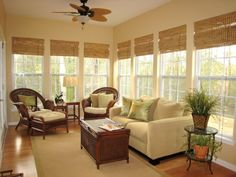 Classic Bamboo Roman Shades : Shade a bright sunroom with floor-length bamboo shades Four Seasons Room, Three Season Room, Sunroom Decorating, Sunroom Ideas, Patio Ideas, Porch Ideas, Florida Decorating Ideas, Small Sunroom, Small Patio