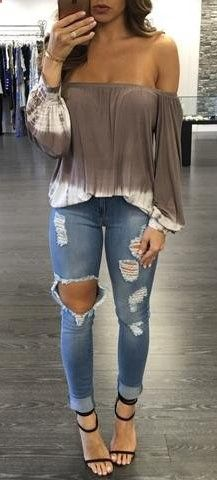#summer #outfits Grey Off The Shoulder Top   Destroyed Skinny Jeans   Black Sandals