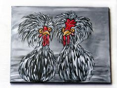 Chicken Art / Original Acrylic Painting on Canvas / Whimsical Kitchen Wall Decor / Rooster Wall Art / Farmhouse Home Decor / Handpainted - All About Decoration Your Paintings, Animal Paintings, Original Paintings, Canvas Paintings, Chicken Painting, Chicken Art, Whimsical Kitchen, Whimsical Art, Art Painting Gallery