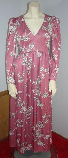 Vintage 70s Pink with Cherry Tree Print Maxi Dress S 34 Bust Empire Waist #Handmade