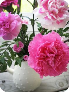 Pink carnations. Love these and they are my birth flower!