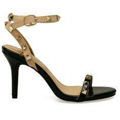 Luca Black & Beige Gold Studded Single Sole Heels