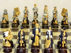 Chess Set - Civil War Painted Resin Chessmen with Grey and Ivory Chessboard