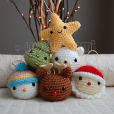 Christmas Friends Pattern by LuvlyGurumi on Etsy Crochet Christmas Decorations, Christmas Crochet Patterns, Crochet Ornaments, Holiday Crochet, Christmas Knitting, Christmas Crafts, Cute Crochet, Crochet Dolls, Christmas Friends