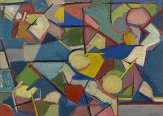 Enzo Brunori - Tavolo con frutta (1951) - Olio su tavola, cm.39x54