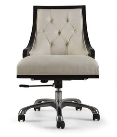 Description This fabulous tub-back office chair is available with an aluminum or leather clad base. Adds elegance to any boardroom or home office environment. (This would be lovely with my desk in my home office.)