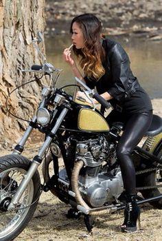 Babes On Motorcycles By Razin Cane Female Motorcycle Riders, Motorcycle Outfit, Motorcycle Girls, Lady Biker, Biker Girl, Chicks On Bikes, Cafe Racer Girl, Rockabilly Cars, Hot Bikes