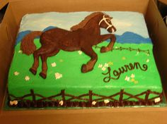 Horse on the Prairie Cake - Requested to match the napkins and plates already purchased for the guest of honor... client 'found' the horse cake pan and wanted me to use it. I ended up doing a chocolate mold and added it on top of a 2 layer sheet cake.