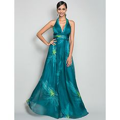 A-line/Princess Halter Floor-length Print Chiffon Evening Dress – USD $ 179.99