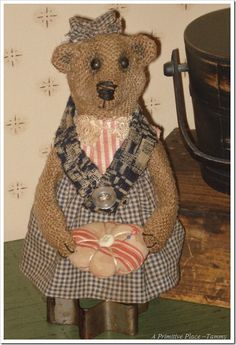 A Primitive Place ~ Tammy: Gretta ~ Primitive Burlap Teddy Bear Make-Do