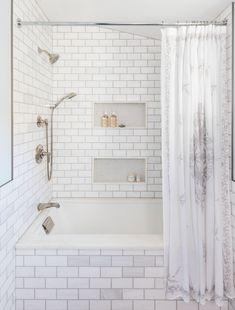 Bathtub Shower Combo, Bathroom Tub Shower, Bathtub Tile, Laundry In Bathroom, Master Bathroom, Bathroom Niche, Shower Tiles, Bathroom Things, Neutral Bathroom