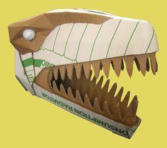 Dinosaurs - Welcome to Wild Card Creations the home of fabulous cardboard dinosaur helmets Cardboard Costume, Cardboard Mask, Cardboard Sculpture, Cardboard Crafts, Dinosaur Projects, Dinosaur Crafts, Festa Jurassic Park, Dinosaur Head, Unusual Presents