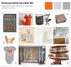 "Woodland Decor for a Baby Boy | When it comes to a colour palette and theme for a little guy's room, let's leave the traditional ""little boy blue"" scheme behind and go for something a bit more unique. Using grey creates a calming, neutral effect in the nursery, while crisp white and warm orange add fun and lightness."