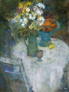 ann oram | the white table ann oram Vibrant Colors, Colorful, Flower Art, Still Life, Fine Art, Vases, Floral, Artist, Mixed Media
