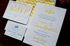 Blue and Yellow Embossed Invitations - maybe with green instead of blue and the detail sea shells?