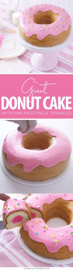 Learn how to make this adorable sprinkle-coated giant donut Giant Donut Cake! Learn how to make this adorable sprinkle-coated giant donut Donut Party, Donut Birthday Parties, Cake Birthday, Cake Party, Birthday Ideas, Giant Donut, Cake Recipes, Dessert Recipes, Party Desserts