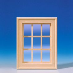Sprossenfenster (50280), aus Naturholz, 9-teilig, mit echter Glasscheibe und Leisten für die Innenverkleidung. Zum lackieren des Fensterrahmens und der bereits montierten Sprossen, kann die Glasscheibe einfach aus dem Rahmen entfernt werden! Maße: 88 x 111 mm (BxH), Ausschnittmaße: 73 x 97 mm.