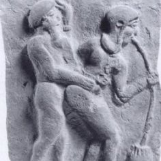"A terracotta plaque from Girsu, ca. 2000 BCE. Sexual intercourse and beer-drinking are frequently connected in Sumerian poetry, as in this lovely ""Love Song for Shu-Suen"" (Shu-Suen A), 19-22:    My ……, the barmaid's beer is sweet  Like her beer her vulva is sweet, her beer is sweet  Like her mouth her vulva is sweet, her beer is sweet  Her kashbir-beer, her beer is sweet"