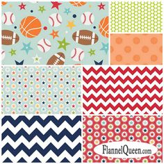 Flannel Fabric Fat Quarter Bundle - Play Ball by Riley Blake Designs available…