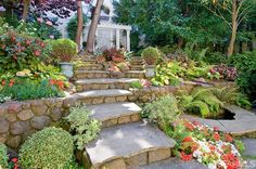 Stone steps and retaining walls