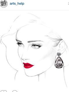 Beautiful drawing bringing attention to the earring and red lips!