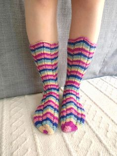 Hand knit women's colorful stripe socks Striped Socks, High Socks, Hand Knitting, Colorful, Trending Outfits, Unique Jewelry, Etsy, Clothes, Fashion