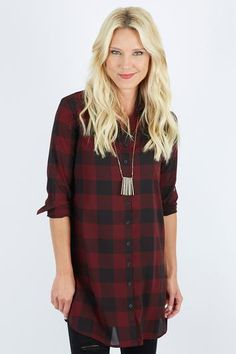 For when you're feeling like ditching the flannel ... Our COTTER Buffalo Plaid Shirt Dress is just the thing!