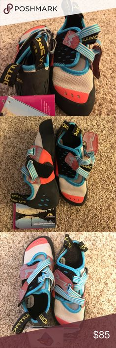 NWT La Sportiva Oxygym Climbing Shoes Size 5.5 Coral/Turquoise, Never Worn! Bought for climbing Camelback Mountain in AZ, they are just too small! I wear a size 6.5. La Sportiv Shoes Athletic Shoes