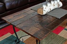 Glass Top Coffee Table Frame Updated With An Oak Pallet Top