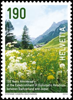 Swiss special stamp: Switzerland and Japan - Spring in the Swiss mountains www.post.ch/philashop
