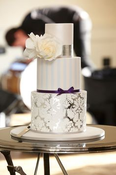 Round Silver, White & Blue Damask wedding cake