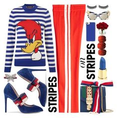 Pattern Challenge: Stripes On Stripes by queenvirgo on Polyvore featuring polyvore fashion style House of Holland Étoile Isabel Marant Gucci Casetify Battington Nearly Natural clothing stripesonstripes PatternChallenge