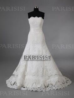 Ctura Caida Sin tirantes Tren Cepillo Marfil vestidos de novia